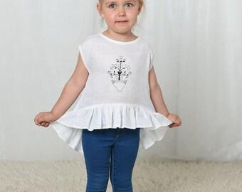 Girls blouse, linen blouse, linen girls tops, toddler shirts, linen clothing, baby girl tops, linen tunic, toddler girl shirts