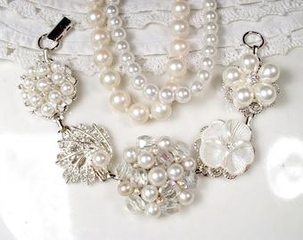OOAK Vintage Ivory Pearl Rhinestone Bridal Bracelet,Silver Vintage Cluster Earring Bracelet,Vintage Modern Wedding Something Old Shower Gift