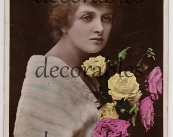 1916 DAME GLADYS COOPER (1888-1971) English Stage & Film Actress with Pink and Yellow Roses Original Vintage British Photo Postcard Rppc