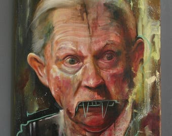 """Resistance Political Art Original 16"""" x 20"""" Oil on Canvas Painting of Jeff Sessions - #Resist"""