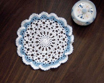 Sea Shells Crochet Lace Doily, Delft Blue, White, 8 Inch Doily, Coastal Decor Beach, Scallop Seashells Beachy Decor, Ruffled, Cottage Chic