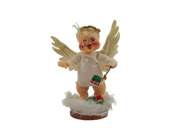 Vintage 1981 Annalee AnnaLee Christmas Angel with Wings and Black Eye Beat Up Angel Cherub Cloth Art Doll
