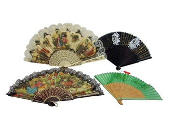 Vintage Lot of Four Fans Two Lace Two Wooden Fans from Spain and Japan Halloween Costume Accessory Dress Up