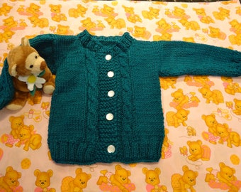 TEAL BABY SWEATER,  unisex, Size 6 to 12 months, 5 white buttons, intricate cable stitch ,baby acrylic yarn
