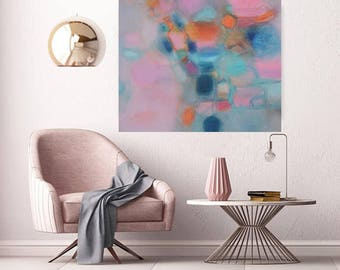 """XL Abstract oil canvas teal blue, modern minimalist Extra Large blush turquoise painting for over sofa 48""""x48"""" modern landscape abstract art"""