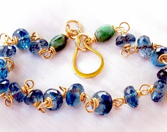 18k Solid Gold London Blue Topaz and Emerald Bracelet