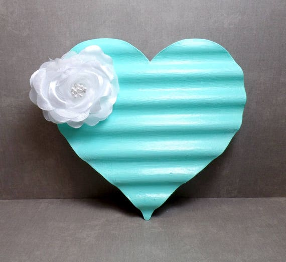 Blue & White Metal Heart Wall Art - Heart Wall Hanging - Shabby Chic Heart - Gift - Free US Shipping