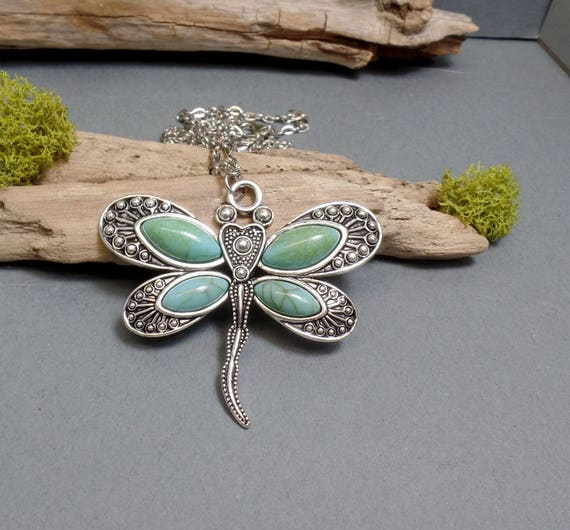 Dragonfly Necklace - Turquoise Dragonfly Pendant - Faux Turquoise Pendant - Dragonfly Pendant Necklace - Free US Shipping