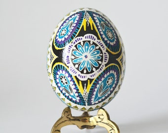 new patters Pysanka with flowers  in blue and black beautiful handmade unique gift for moms birthday summer gift idea trending on Etsy now