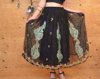 Vintage Boho Hippie Gypsy 80's Embroidered Maxi Skirt In Black, Gold & Teal Sheer Layers SZ S/M/L