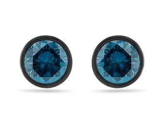 2.00 Carat Blue Diamond Stud Earrings, Bezel Set Earrings, 14K Black Gold Vintage Style Certified Handmade