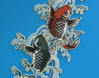 Big Iron-on embroidered Patch Dancing Fish 8 inch