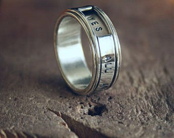 magic 6.5 or 8mm SPINning ring. PERSONALIZED band. REVOLVER gun. Custom engraving. Handcrafted solid silver. Unisex. Mens, women. Spin ring
