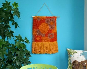 Woven wall hanging. Retro orange and mustard geometric wall art. Modern fiber art. Upcycled yarn.