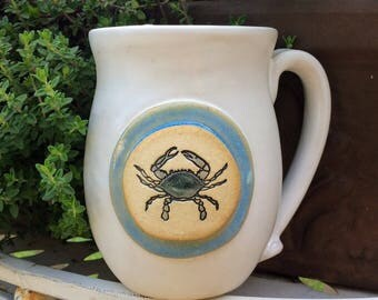 Maryland Blue Crab Mug in White and Blue, Crab Mug, Coffee Mug 15 ounce size