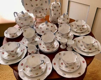 Shelley China Tea Service  Rose Pansy Forget Me Not Tea Service -  44 pieces Shelley Dainty Great Britain 1950s - Teapots Coffee Pot more