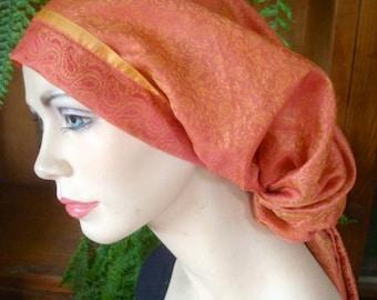 Womens headscarf snood tichel chemo headcover boho headwrap turban soft orange ooak pretied head scarf