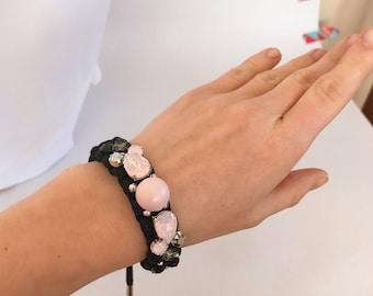 Bracelet adjustable handmade with Swarovski crystals, black cord, silver findings