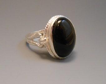 Onyx Sterling Silver Recycled Genuine Gemstone Ring Cocktail Ring Black Gemstone