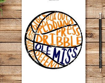 Basketball -  - OLE MISS scribble BASKETBALL, Digital Cut Files