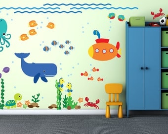 Under the Sea Wall Decal, Whale Submarine Wall Decal, Fish FABRIC Wall Decals Reusable Non-toxic NO PVCs, A238