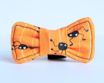 Orange Striped Halloween Spider Pet Clip-on Bow Tie - Dog/Cat Bow Tie Collar Accessory - Small/Medium/Large Halloween Pet Costume Bow Tie
