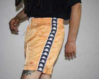 Vintage 90s Tangerine Orange Kappa Hip Hop Swim Trunk Athletic Shorts - 1990s Kappa Shorts - 90s Clothing - MV0424