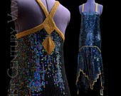 1970s Art Deco Flapper Dress. Iridescent Sequins with Gold details. Studio 54. 70s. 1920s style. Gatsby. Jazz Age. Prom. Wedding.