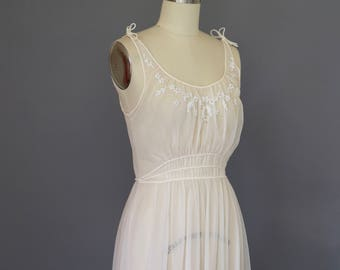 Vintage 1950s Gown Vintage Lingerie / Sheer Beaded Gown Sheer Nightgown / Sheer Gown / Nylon Wedding Bride Bridal Lace 34