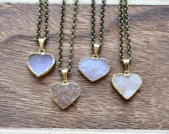 Small Gold Brass Heart Druzy Necklace/ Natural Crystal Quartz Druzy Stone/ Must Have Gift Stylish Fashion Layering Piece (EP-BND14-S)