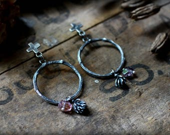 Possibilities Earrings - Spinel Nugget Beads, Diamonds, Sterling Silver - Rustic Cross, Hoops, Dangle, Twig, Nature, Branch, Succulents