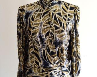 Gold Lurex Night top Cummerbund Silver Metallic Leaves Glam Saks Fifth Avenue long sleeve tops