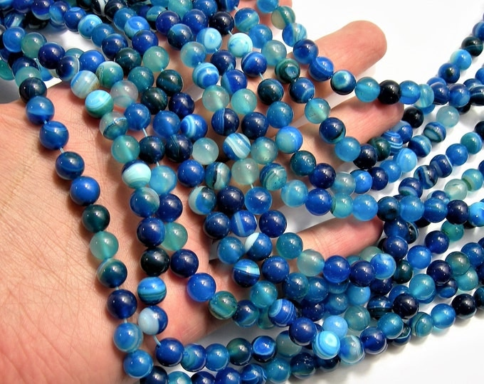 Blue Banded Agate - 8mm  round beads - full strand - 48 beads -  RFG1516