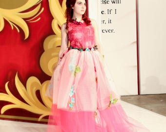 size 6: Handmade One-of-a-Kind designer Hawaiian Layered Tulle Dress - fitted - pink - maxi- prom- homecoming- formal