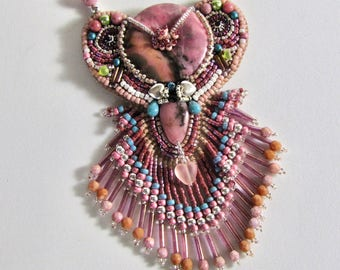 Pink Rhodonite Bead-Embroidered Donut Necklace