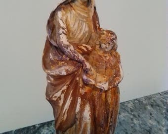 "FREE SHIP! * 9"" St. Elizabeth & Child Mary Shabby Cottage Distressed Vintage Statue"