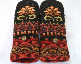 Colorful Nordic Mittens ~ Orange Black Wool Women's Recycled Sweater Mittens
