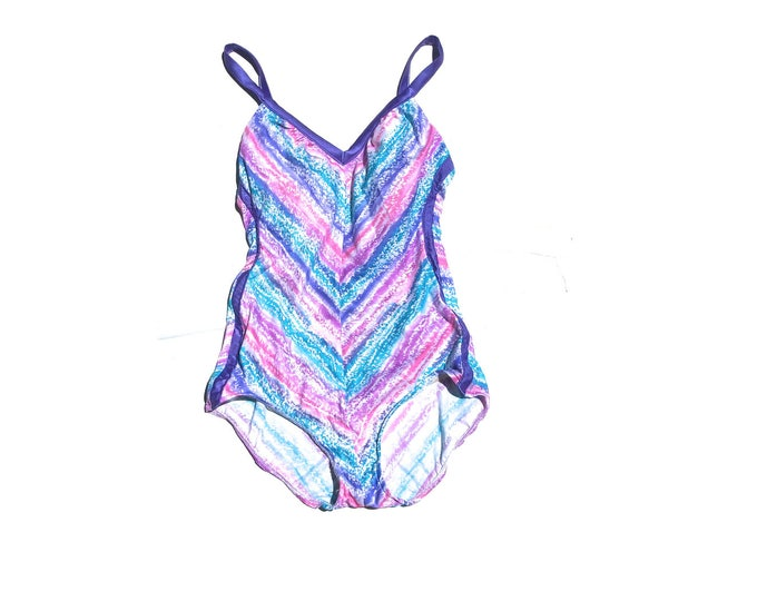 Chevron One Piece | scoop back pastel stripe womens onesie bodysuit swimwear swimming suit large L pink blue purple XL vintage 80s bathing