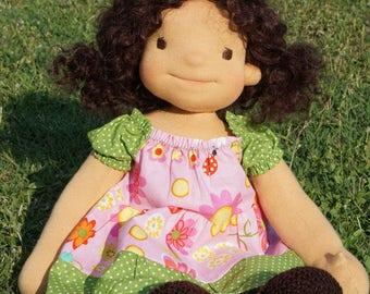"""Waldorf doll Dora 18"""" present, Gifts for Children birthday, OOAK dolls"""