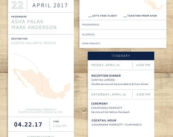 """Boarding Pass destination wedding invitation ticket, """"Let's Take Flight"""", completely customizable; SAMPLE ONLY"""