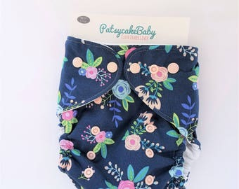 diaper cover, cloth diaper cover, one size, organic cotton, blue, flower, garden, nature, girly, AI2 Optional, All-in-Two optional