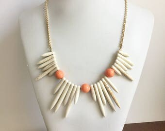 Howlite & Coral Necklace // howlite spike necklace, howlite teeth necklace, howlite necklace, shark tooth necklace, ready to ship gifts