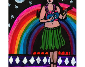 Hula Girl with ukulele by Heather Galler Original Painting American Folk Art Rainbow Moon Stars Oahu Hawaii