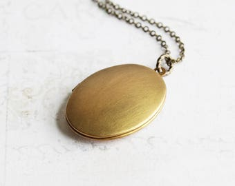 Large Antiqued Brass Oval Locket Pendant Necklace, Hand Finished Patina