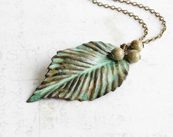 Large Leaf Necklace, Verdigris Patina Pendant on Antiqued Brass Chain with Rhyolite Stones, Green Leaf Pendant, Nature Jewelry