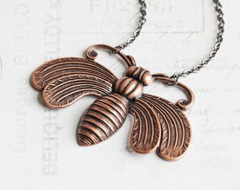 Large Antiqued Copper Plated Bee Necklace on Gunmetal Chain
