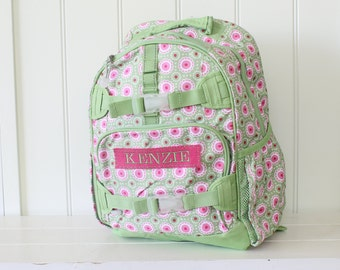 Large Size Pottery Barn Backpack With Monogram -- Green/Pink Mod