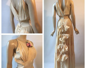 RESERVED 1930s Peter Robinson vintage moiré / watermark taffeta evening dress or formal gown in ivory with bow detail and corsage - wedding