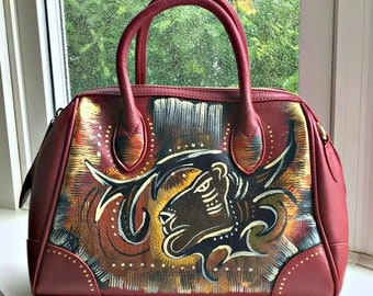 "Tribal Immunity Hand Painted Vegan Leather ""Raging Fyah"" Duffle Satchel Handpainted Womens Purse"