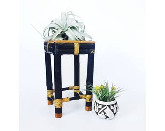 Vintage Black Bamboo Plant Stand